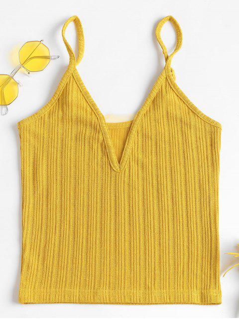 fancy Gauze Panel Ribbed Tank Top - BRIGHT YELLOW L Mobile