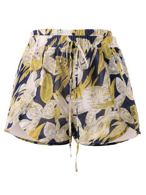 trendy Plus Size Knotted Leaves Shorts - MULTI L Mobile