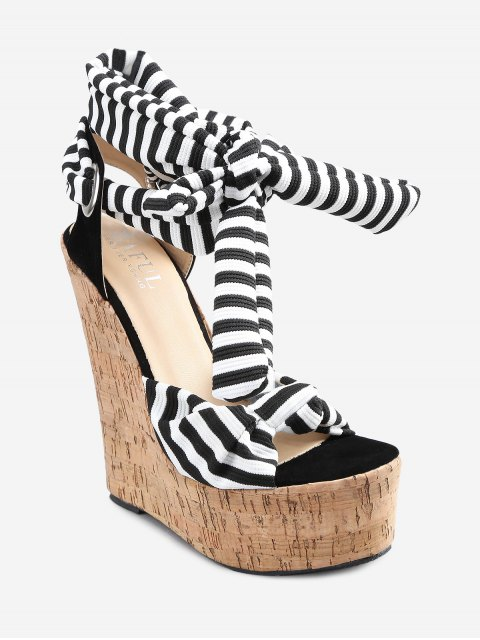 shop Lace Up Striped Knot Wedge Heel Sandals - WHITE 37 Mobile
