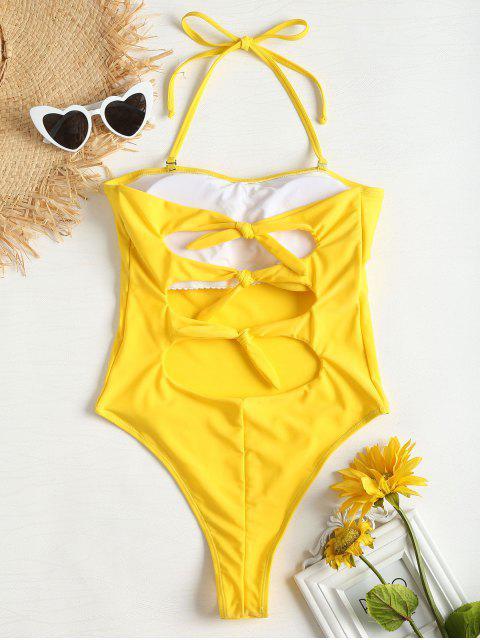 Traje de baño de corte alto con espalda descubierta - Amarillo de Maíz S Mobile