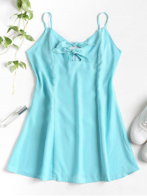 Nudos Cut Out Mini Dress - Azul Verde Guacamayo  L Mobile