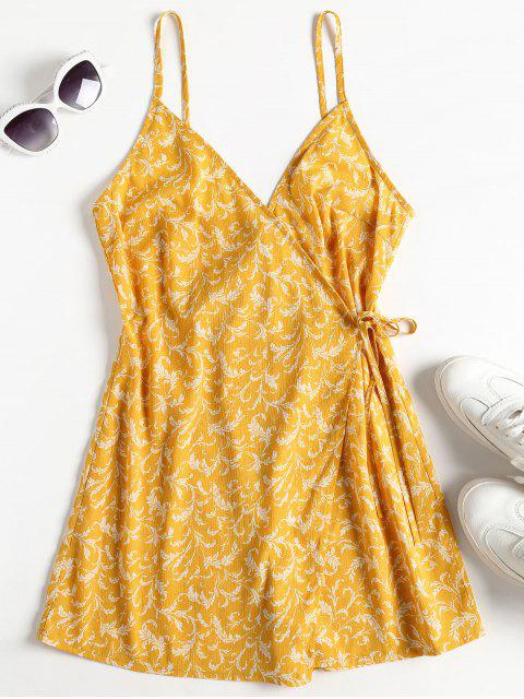 women Wrap Front Floral Cami Playsuit - MUSTARD M Mobile