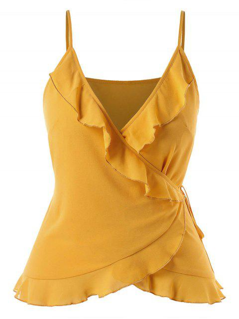 hot Plus Size Cami Ruffles Wrap Top - MUSTARD L Mobile