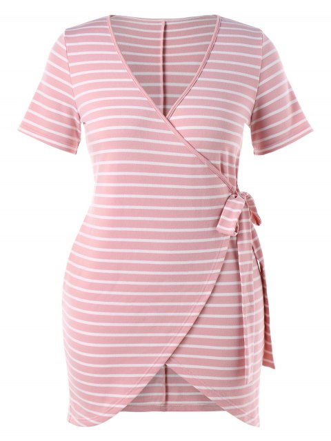 sale Plus Size Striped Tied Dress - LIGHT PINK 2X Mobile