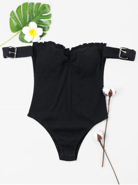 affordable Off Shoulder Frills Trim Ribbed Bodysuit - BLACK L Mobile