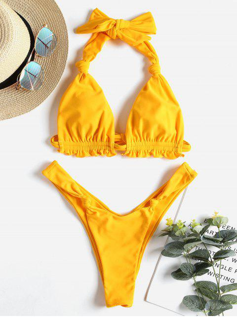 trendy Halter Knot Scrunch Butt Thong Bikini - RUBBER DUCKY YELLOW S Mobile