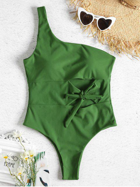 women One Shoulder Cutout Tied One Piece Swimsuit - SPRING GREEN S Mobile