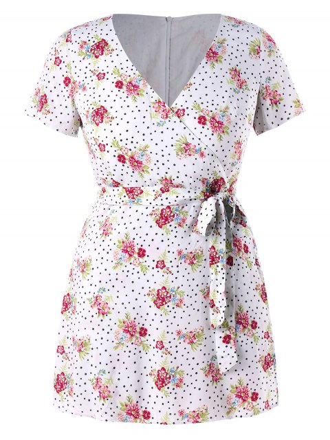 sale Plus Size Floral Dots Belted Romper - WHITE 2X Mobile