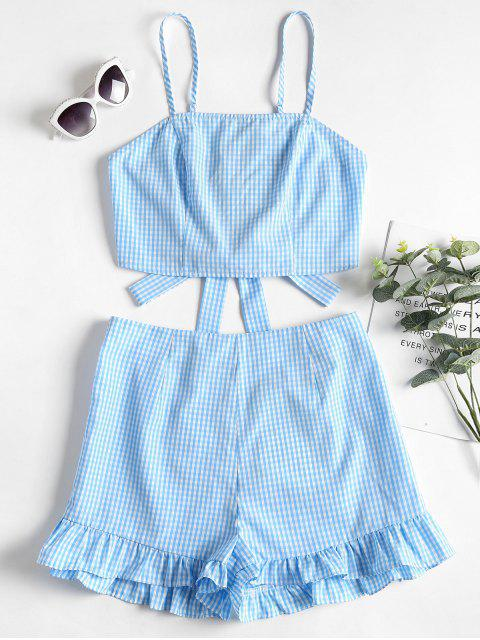 lady Gingham Cami Top and Shorts Two Piece Set - SEA BLUE M Mobile