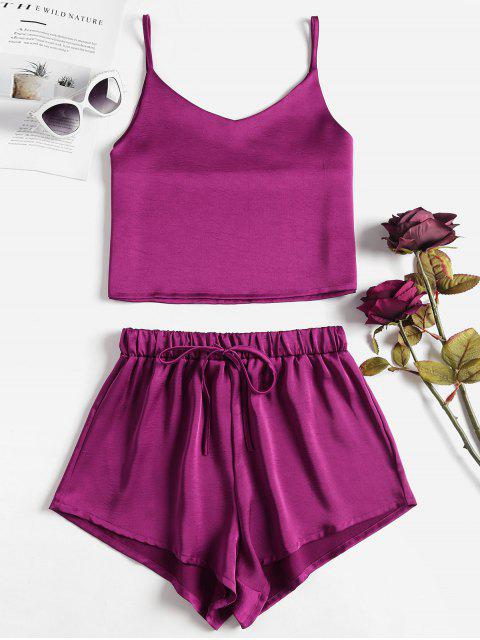 outfits Cami Plain Top and Shorts Set - PLUM VELVET L Mobile