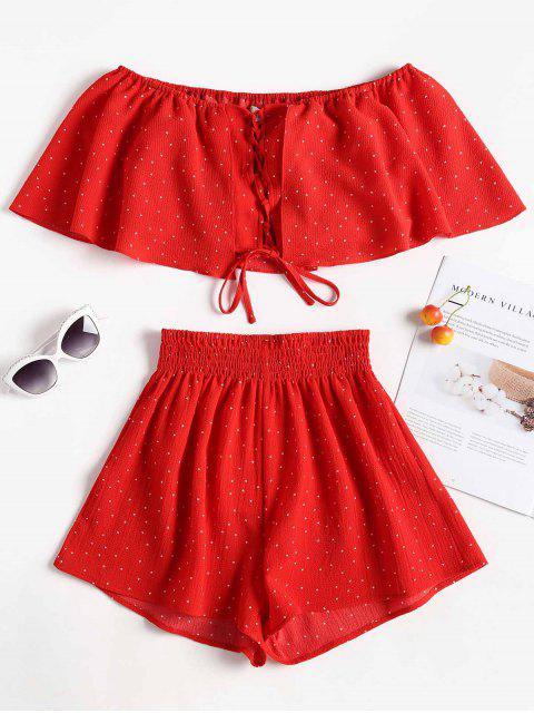 Conjunto a juego de lunares y pantalones cortos con lunares - Amo Rojo S Mobile