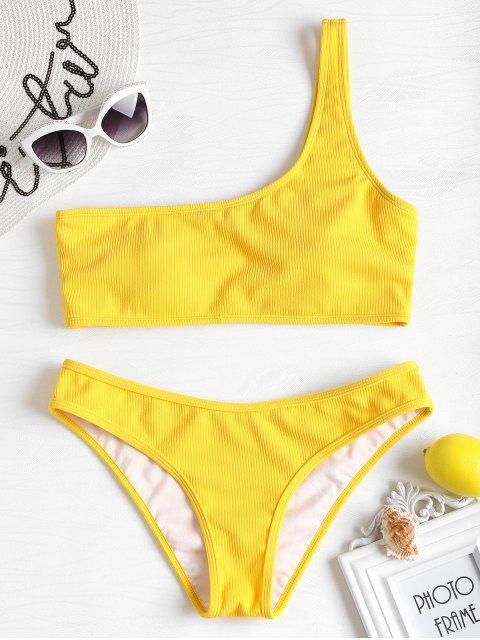 Bikini en Ensemble Nervurré et à une Epaule - Jaune S Mobile