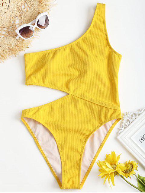 Gerippter Ausgeschnittener Eine-Schulter-Badeanzug - Gelb S Mobile