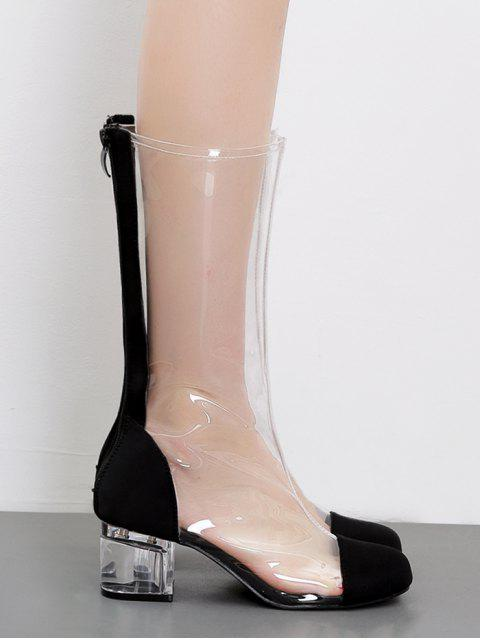 new PVC Lucid Chunky Heel Round Toe Chic Mid Calf Boots - BLACK 37 Mobile