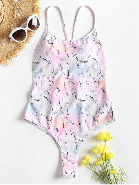 unique Marbling Tie Dye Cross Backless Swimsuit - LIGHT PINK L Mobile
