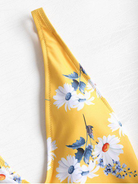 Bañador estampado con estampado de margaritas - Mostaza S Mobile