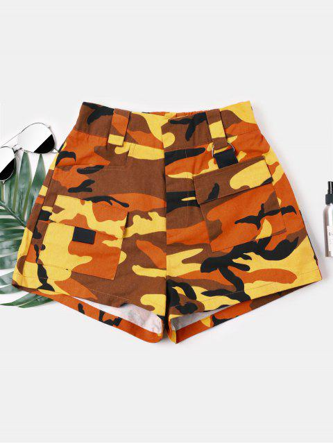 ladies Camouflage High Waist Shorts - BEE YELLOW S Mobile