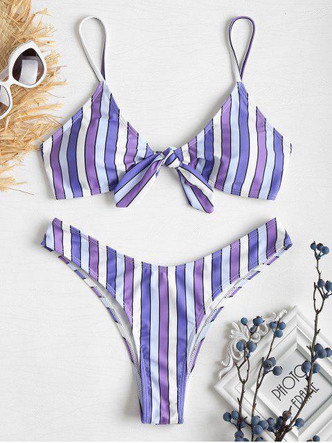 Bikini de pierna anudada con rayas en contraste - Púrpura L Mobile