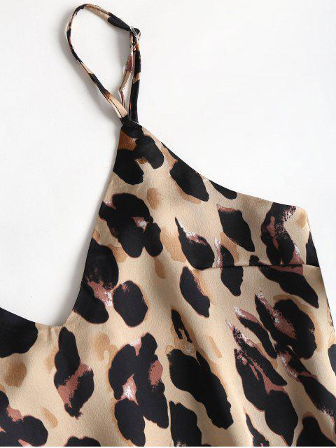 fancy Leopard Print Satin Cami Top Shorts Pajama Set - LEOPARD S Mobile