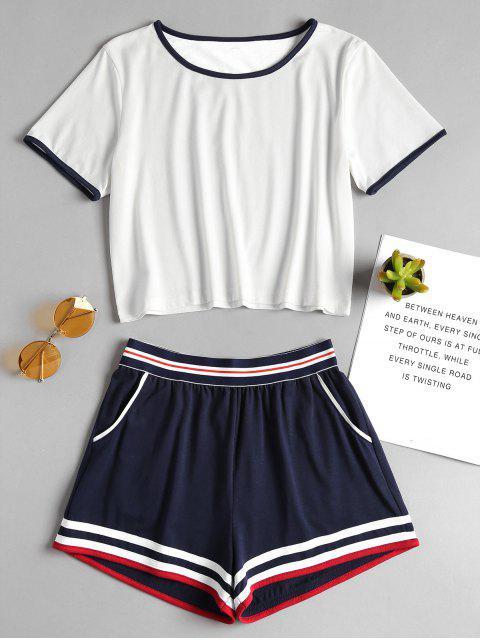 Ensemble de T-shirt en Couleur Unie et de Short Elastique Deux Pièces - Blanc L Mobile