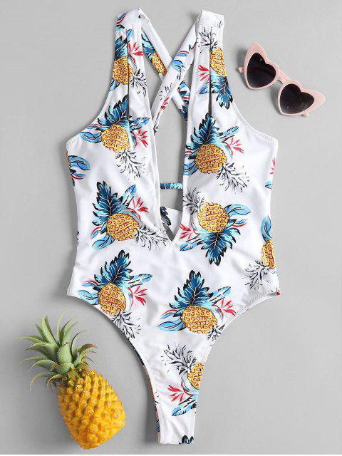 women Pineapple Cross Back High Leg Swimsuit - WHITE S Mobile