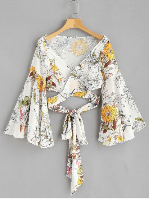 best Flare Sleeve Floral Wrap Blouse - WHITE L Mobile