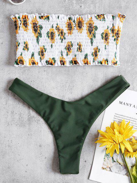 latest Sunflower Smocked Thong Bikini Set - ARMY GREEN S Mobile