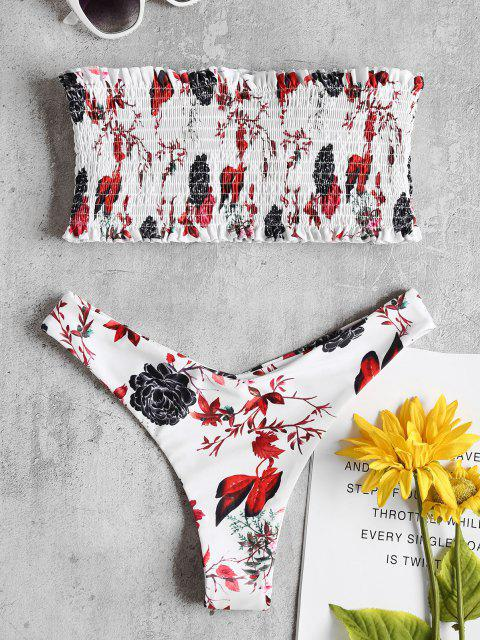 shop Bandeau Floral Smocked Bikini Set - WHITE L Mobile