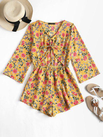 Cut Out Knot Floral Romper - Golden Brown S