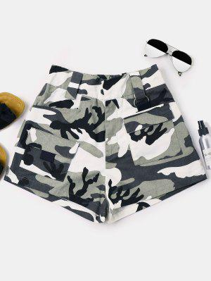 Camouflage Shorts Mit Hoher Taille