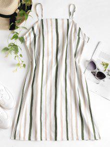 فستان مخطط من الخلف - أبيض L