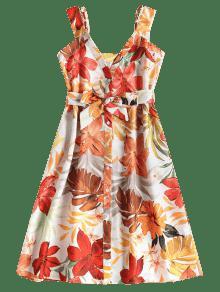 De L Hojas Estampado Multicolor Vestido Florales Con qzTEZE