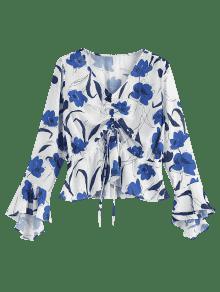Blusa Floral M Con Estampado Blanco rvY1nSqvUx