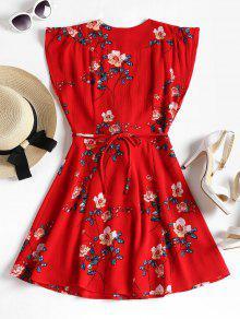 Rojo Amo Vestido Estampado Lazo Floral S Con wqvXI1Tv