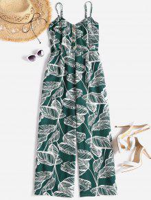 Smocked Tropical Wide Leg Jumpsuit - متوسطة البحر الخضراء L