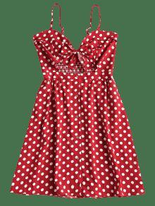 Rojo Con A Cereza Botones Vestido S Media Pierna Mini xqSBwAZIYn