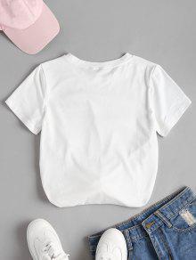 Camiseta Xl Floral Anudada Bordada Blanco ngvgPFWr