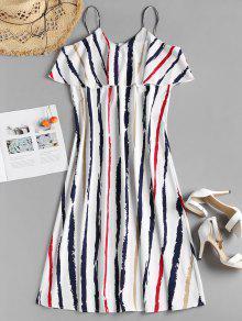 فستان بطبقة مخططة - أبيض L