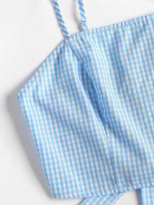 Piezas De Cami S Top Marino Y Shorts Conjunto Gingham Dos Azul wqX0TRx0
