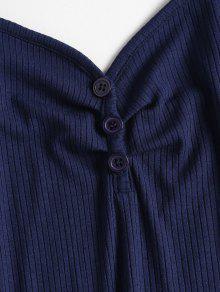Acanalado Camisola Azul Profundo Top De S Abotonado qzA4E