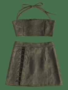 Top De Verde Piezas Dos M Skirt Suede Ejercito Faux Conjunto Halter 1XpSx