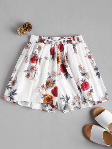 Flowy Floral High Waisted Shorts - أبيض