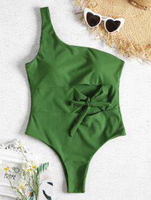 واحد الكتف انقطاع تعادل قطعة واحدة ملابس السباحة - ربيع اخضر S