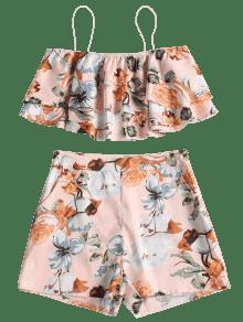 Y Piezas De Rosa Cami Conjunto Shorts Dos Chicle Floral L Top EwORq1f