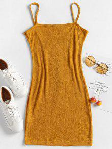 L Mini Camiso De Mostaza Arruga Bodycon Vestido wYqpxgw
