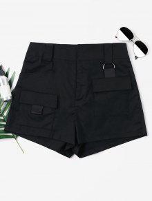 ارتفاع الخصر جيوب السراويل - أسود L