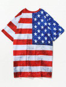 De Camiseta Americana Cami Rojo La Bomberos S 243;n 3D Patri Estampada 243;tica De Bandera De BYx7gB