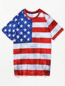 3D الوطني الأمريكي العلم مطبوعة تي شيرت - Fire Fire Red Xl