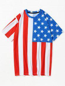 3D العلم الأمريكي المطبوع الوطني القميص - كستنائي أحمر Xl