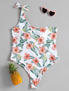 واحد الكتف بالاضافة الى حجم ملابس السباحة الأزهار - أبيض 1x